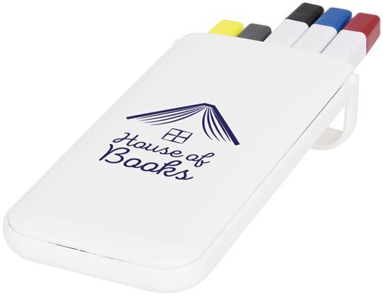 Pennset 5-pennor & fodral med tryck Vit
