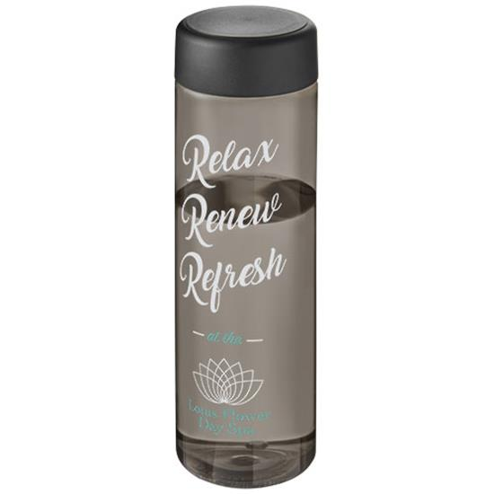 H2O Vibe 850 ml screw cap water bottle med tryck Grå/Svart