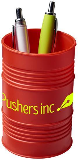 Bardo pennhållare i oljetunna-stil i plast med tryck Röd