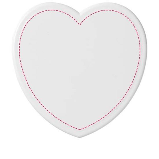 Cait hjärtformat glasunderlägg med tryck Vit