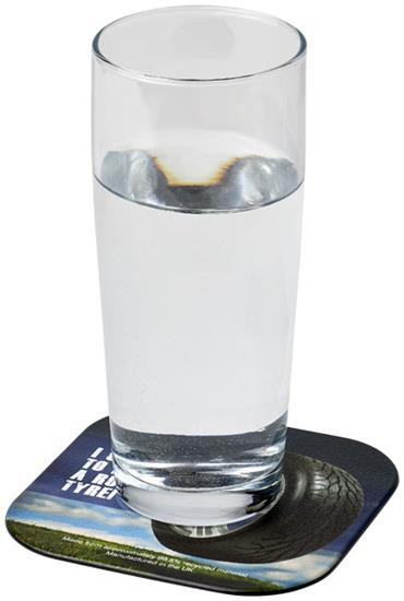 Brite-Mat® fyrkantigt glasunderlägg med däckmaterial med tryck Svart