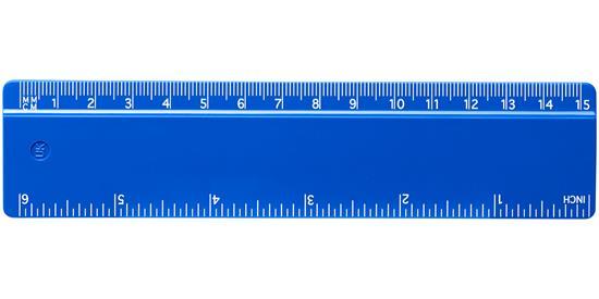 Renzo 15 cm plastlinjal med tryck Blå