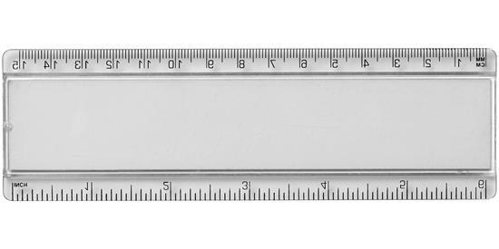 Linjal Ellison 15 cm pappersinlägg med tryck Vit