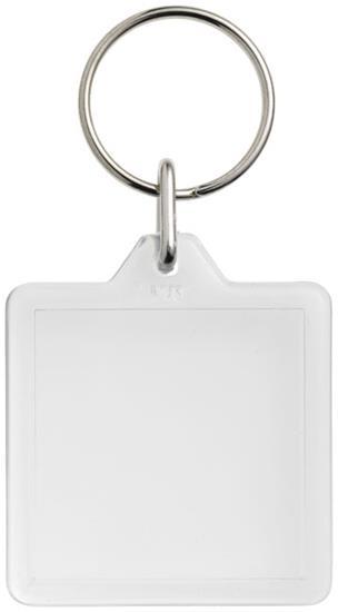 Kvadratisk nyckelring Vial U1 med tryck Vit