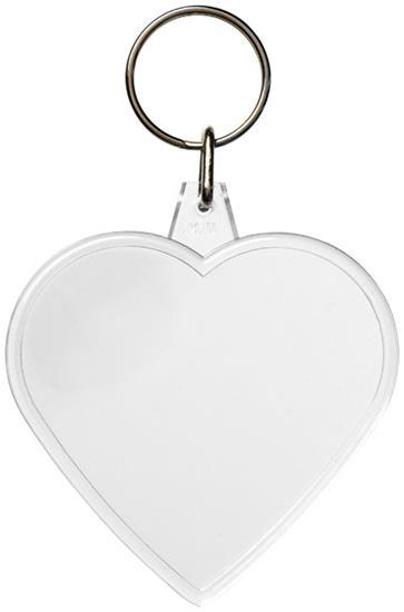 Nyckelring Combo hjärtformad med tryck Vit