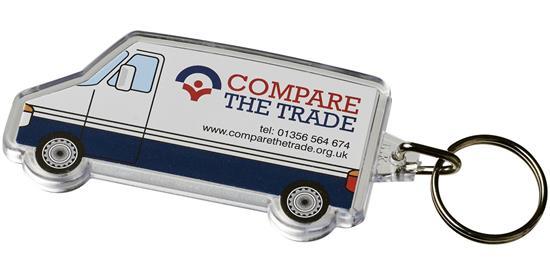 Combo minibussformad nyckelring med tryck Vit