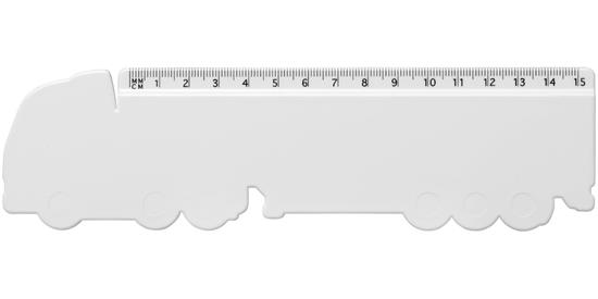 Loki 15 cm lastbilformad plastlinjal med tryck Vit