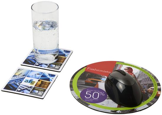 Q-Mat® Set 6 med musmatta och underlägg med tryck Svart