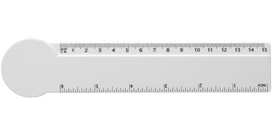 Loki 15 cm cirkelformad plastlinjal med tryck Vit