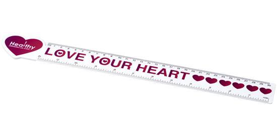 Loki 30 cm hjärtformad plastlinjal med tryck Vit