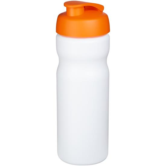 Sportflaska Baseline® Plus 650 ml uppfällbart lock med tryck Vit/Orange