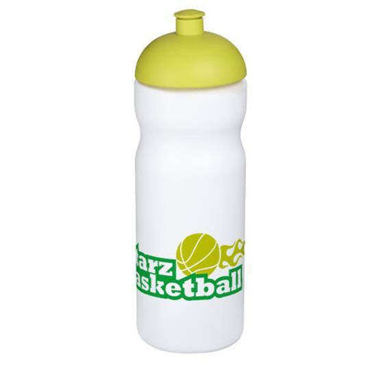 Sportflaska Baseline® Plus 650 ml kupollock med tryck Vit/Limegrön