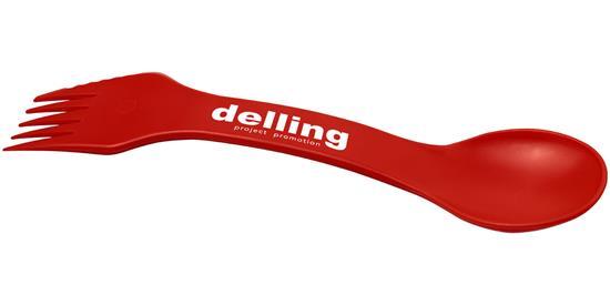 Epsy 3-in-1 – sked, gaffel och kniv med tryck Röd