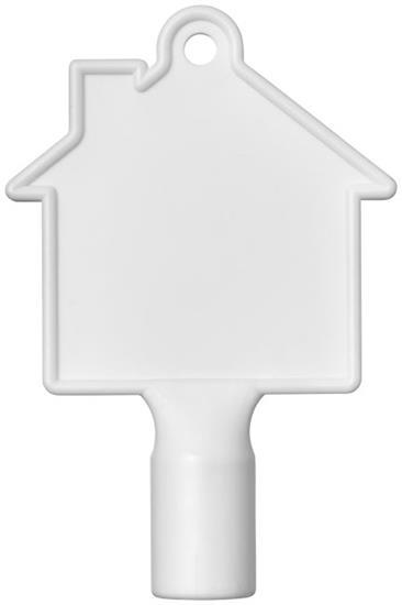 Maximilian husformad mätarskåpsnyckel med tryck Vit