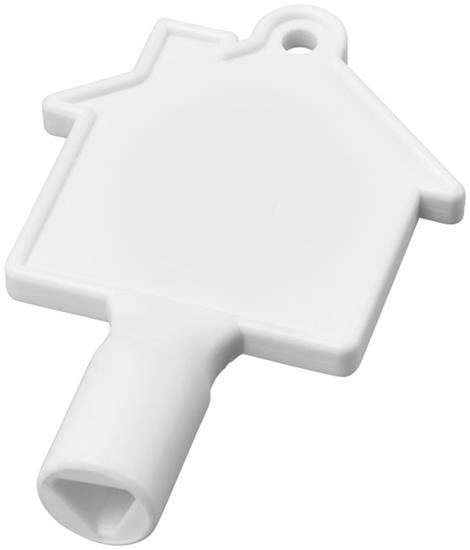Mätarskåpsnyckel Maximilian husformad med tryck Vit