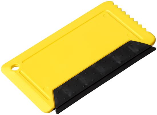 Freeze isskrapa i kreditkortsstorlek i gummi med tryck Gul