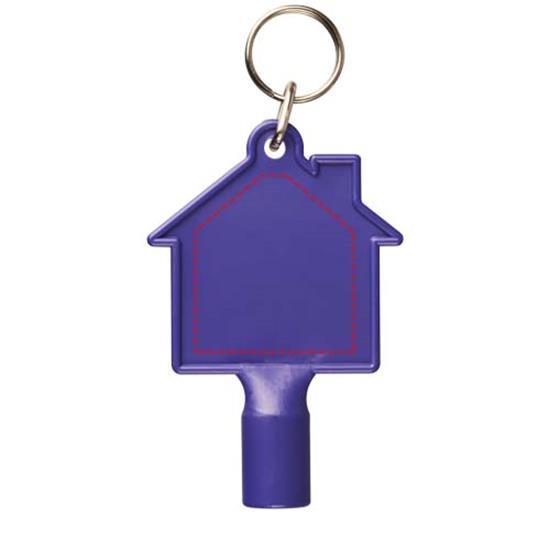 Maximilian husformad nyckelring med mätarskåpsnyckel med tryck Lila