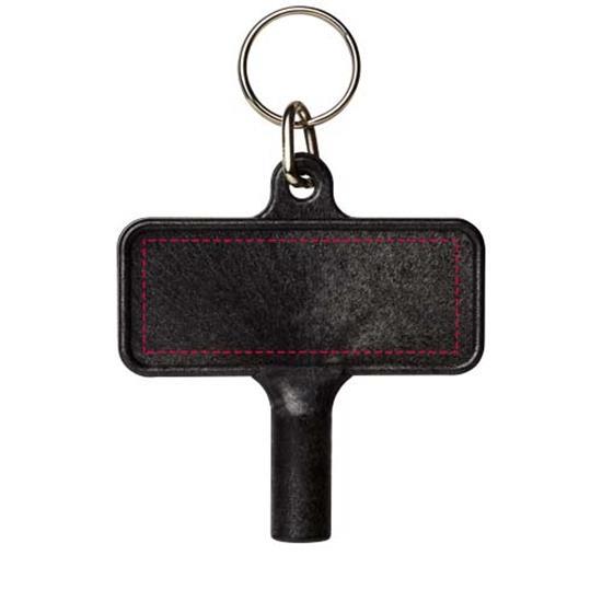 Nyckelring Largo med plastnyckel för element med tryck Svart