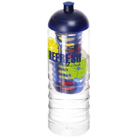 Sportflaska H2O Treble 750 ml med kupollock och fruktkolv med tryck Blå