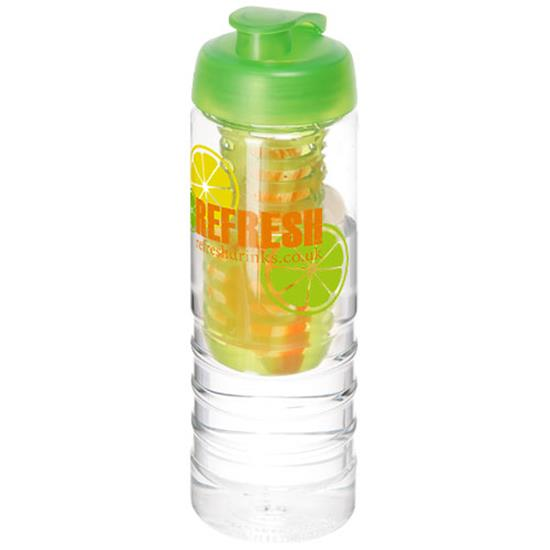 Sportflaska H2O Treble 750 ml med uppfällbart lock och fruktkolv med tryck Limegrön