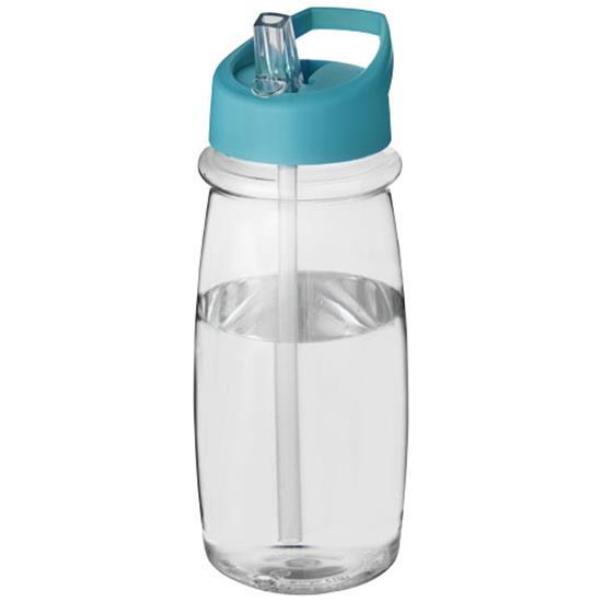 Sportflaska H2O Pulse 600 ml rPET med piplock med tryck Aquablå