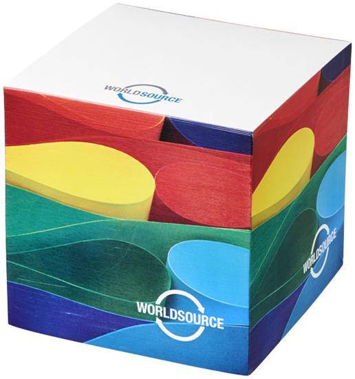 Memo-block Cube litet med tryck Vit