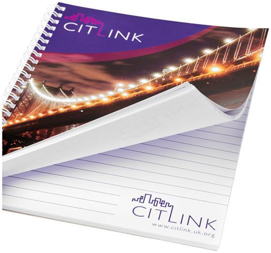 Anteckningsbok Desk-Mate® wire-o A4 med tryck Vit