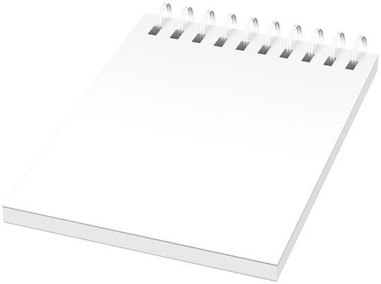Anteckningsbok Desk-Mate® wire-o A7 med tryck Vit