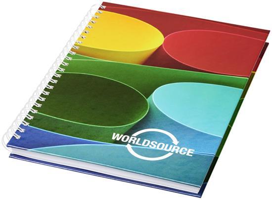 Anteckningsbok Wire-o A6 hårt omslag med tryck Vit