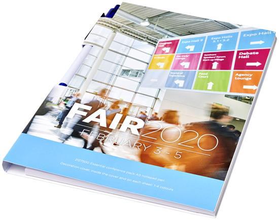 Konferenspaket Essential anteckningsblock A5 och penna med tryck Vit/Blå