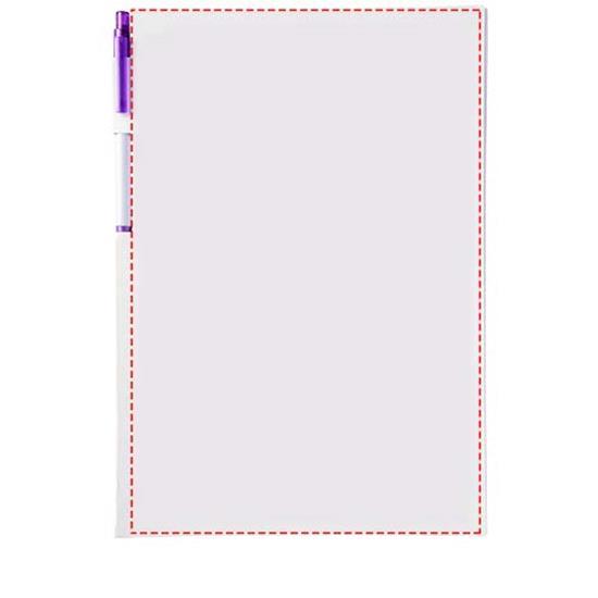 Konferenspaket anteckningsblock A6 och penna med tryck Vit/Lila