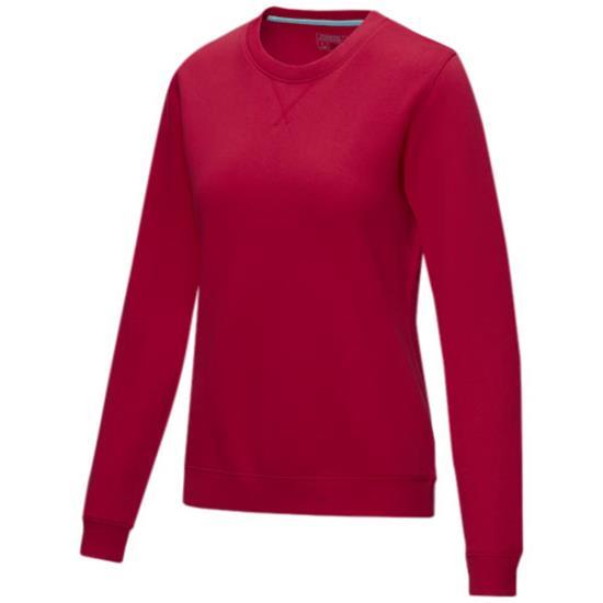 Sweatshirt Jasper GOTS ekologiska Dam med tryck Röd