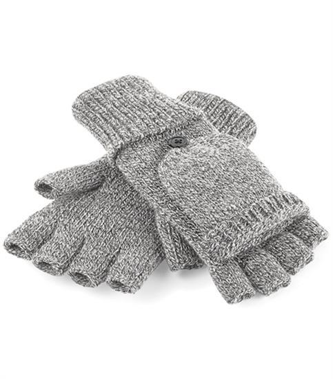 Fliptop Handske med tryck Grå