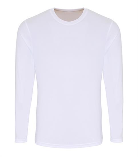 Tränings T-shirt TriDri performance Långärmad med tryck Vit