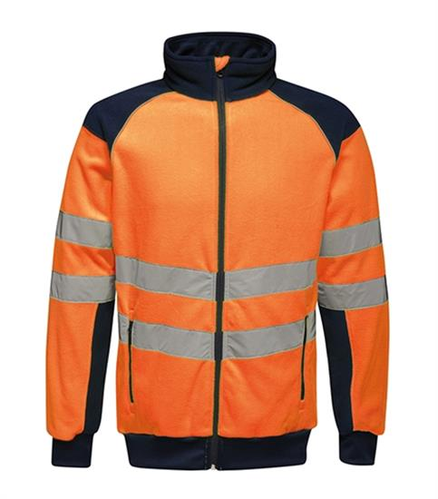 Reflexjacka Hi-Vis Pro Fleece med tryck Orange/Blå
