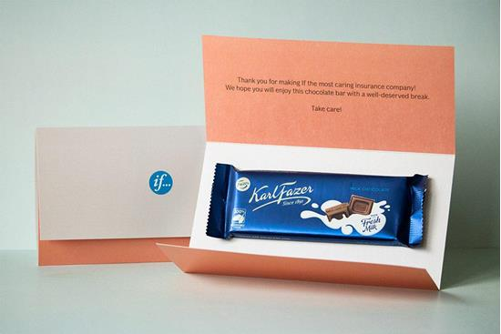 Chokladbrev med hemleverans med tryck Vit