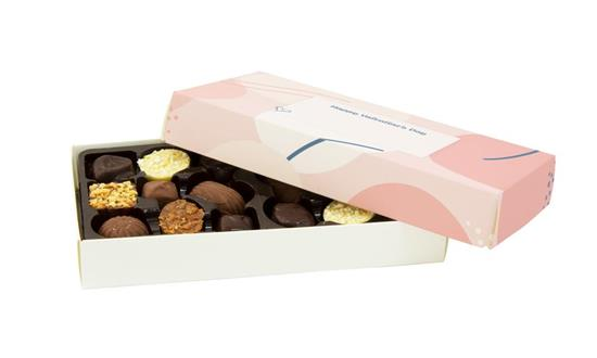Chokladpraliner 18-pack med tryck Vit