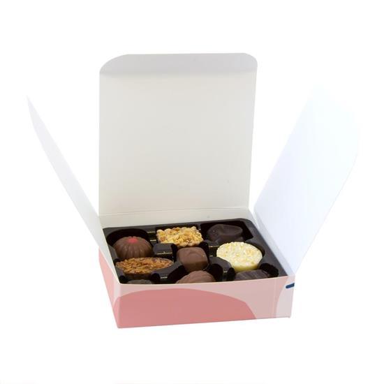 Chokladpraliner 9-pack med tryck Vit