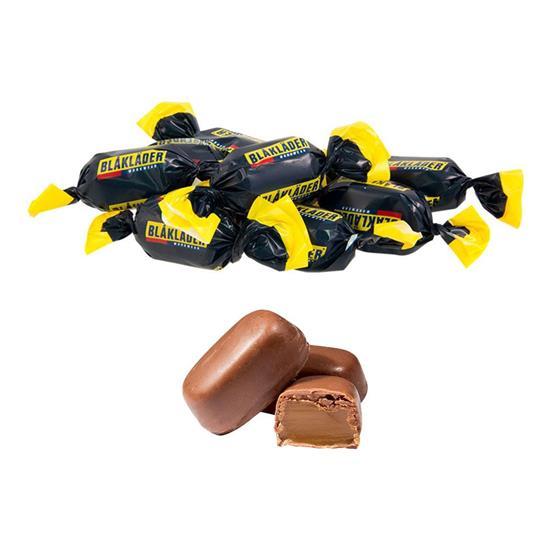 Twistade Smörkola med chokladöverdrag med tryck Vit