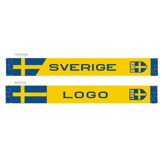 Sverige Halsduk med tryck Gul/Blå