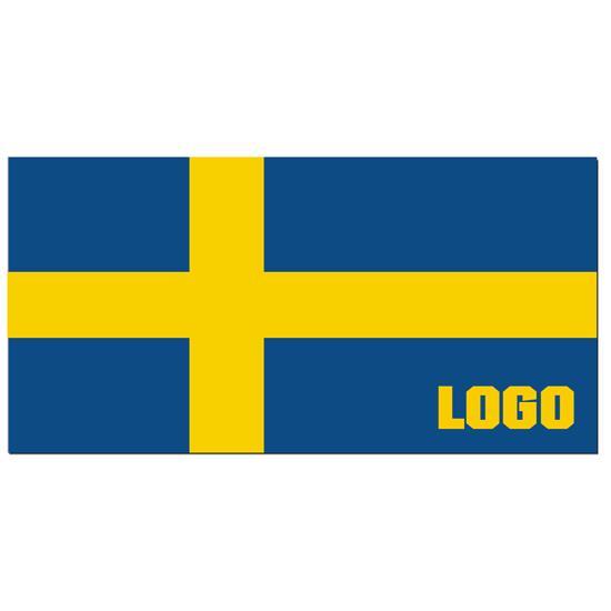 Sverige Handduk med tryck Gul/Blå