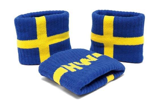 Sverige Svettband med tryck Gul/Blå