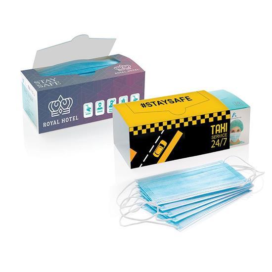 Munskydd 50 pack. 3-lagers kirurgiskt med tryck Blå