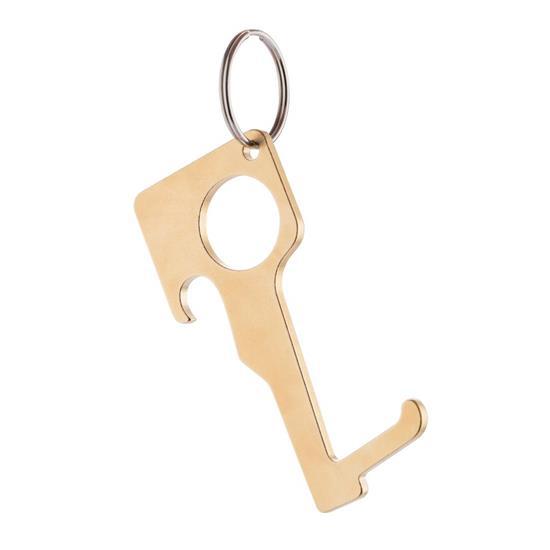 Hygienisk noll-kontakt nyckelring i mässing, brun med tryck Brun