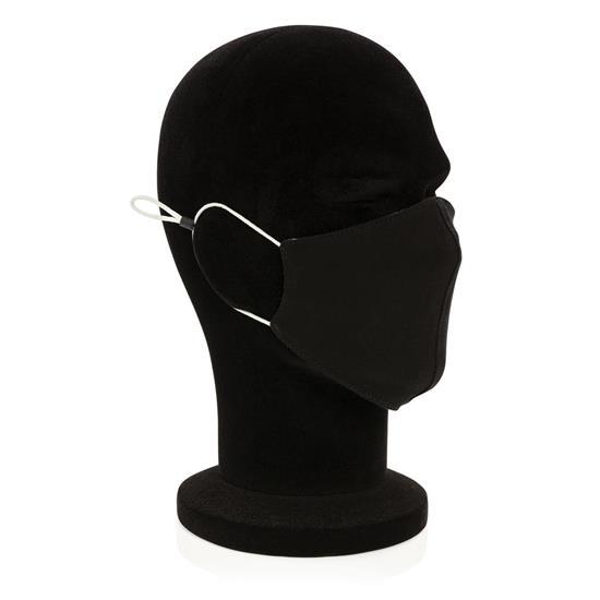 Återanvändningsbar mask 2-lager bomull med tryck Svart