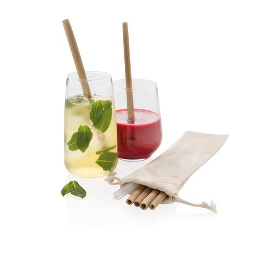 Sugrör 6-pack återanvändningsbara ECO bambu med tryck Vit