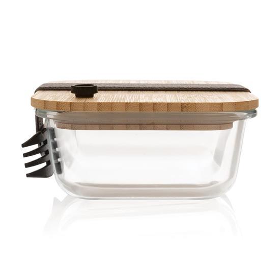 Mattlåda Bambu i glas med spork med tryck Vit