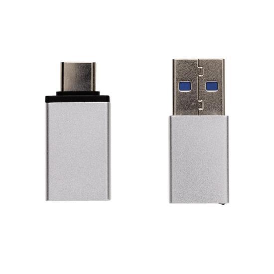 USB A och USB C adapter-set med tryck Silver