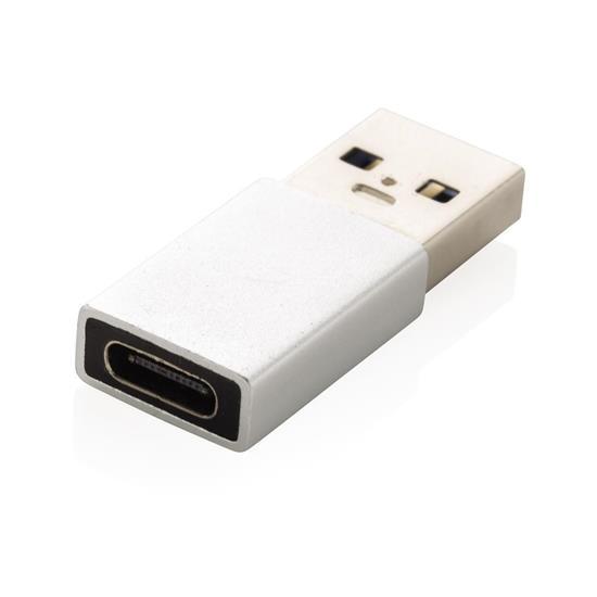 USB A till USB C adapter med tryck Silver