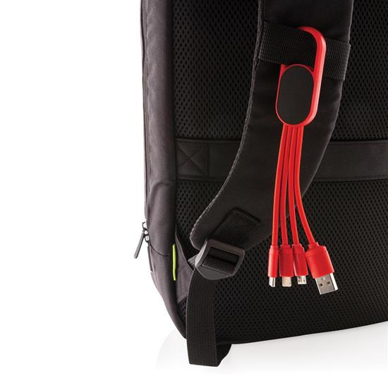 Laddningskabel Karbinclip 4-i-1 med tryck Röd